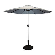 Pebble Lane Living   Premium Market Outdoor Patio Umbrella, Crank And Tilt,  Gray