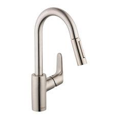 Focus 1.75 GPM Single Handle Pull-Down Kitchen Faucet, Steel Optik