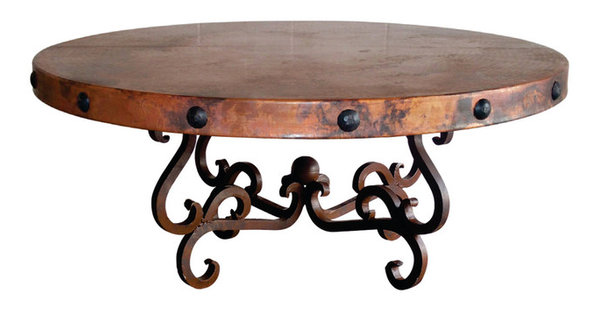 Round Wrought Iron Coffee Table With 48 Hand Hammered Copper Top