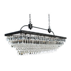 Lightupmyhome Weston Rectangular Glass Drop Crystal Chandelier, Antique Silver