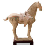 China Furniture and Arts - Chinese Tang Ceramic Horse Statue - Tang dynasty artisans were renowned for their technique of creating ceramic and porcelain sculptures. Features a weathered and sandy look, this replica reflects the great respect Asian people have for the horse, a symbol of strength, elegance, and perseverance within Asian culture. Stand sold separately. This item will be shipped from Westmont, IL 60559 U.S.A