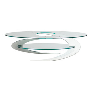 Elica Coffee Table, Polished Aluminium Frame