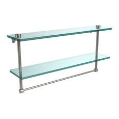 """22"""" Double Glass Shelf With Towel Bar, Satin Nickel"""