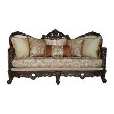 39-inchx85-inchx49-inch Fabric Dark Walnut Upholstery Wood Leg/Trim Sofa With 6 Pillows