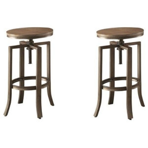 Brilliant Round Industrial Antique Style Bar Stool Adjustable Screw Caraccident5 Cool Chair Designs And Ideas Caraccident5Info