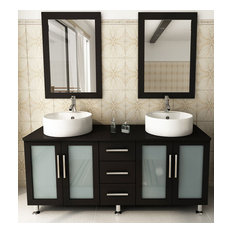 "59"" Double Lune Large Vessel Sink Modern Bathroom Vanity Cabinet Set"