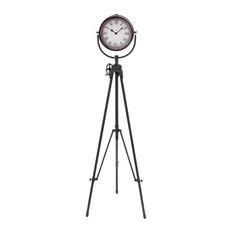 Black Metal Clock, 57x17x17