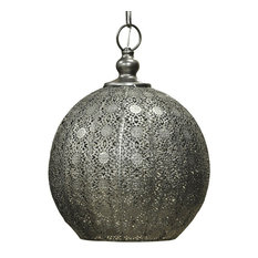 Forged Iron Ball Pendant Light, Silver