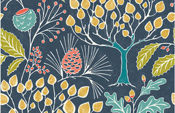 Groovy Garden Navy Peel & Stick Wallpaper Swatch Sample