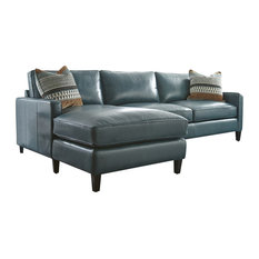Silver Coast Company Turquoise Leather Sectional With Chaise Lounge Sofas