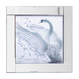 Square Mirror Picture Frame With Glittered Swan Illustration