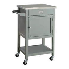 Linon Home Decor Products - Sydney Gray Apartment Cart - Kitchen Islands and Kitchen Carts
