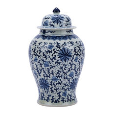 Temple Jar Twisted Lotus Flower Blue White