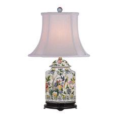 "Chinese Porcelain Famille Bird Motif Scallop Ginger Jar Table Lamp 22"""