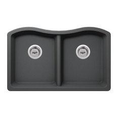 """Undermount 32.5""""x20"""" 50/50 Bowl Quartz Kitchen Sink, Gray"""