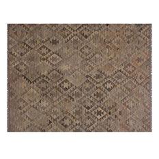Demetric Tan/Brown Hand-Woven Kilim Wool Rug - 6'8 x 9'9
