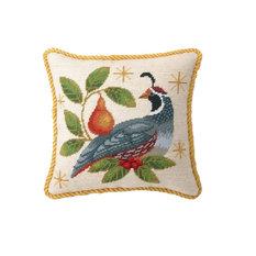 "Peking Handicraft, Inc. - 12""x12"" Winter Partridge Needle Point Pillow - Holiday Decorations"