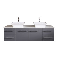 Totti Wave 60-inchGray Modern Double Sink Vanity With White Glassos Countertop 72-inch