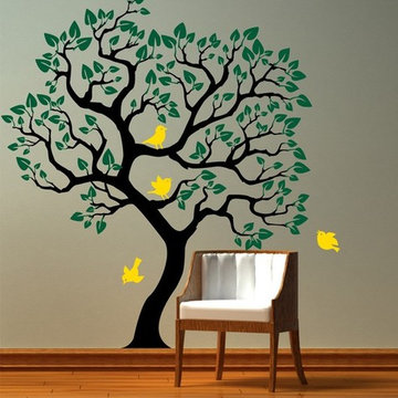 Vinyl Wall Decal Tree with birds wall sticker Size by CherryWalls