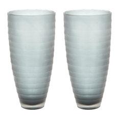 Smoke Matte Cut Vases, Set of 2