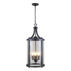 Niagara 6-Light Outdoor Hanging Lantern, Hammered Black With Clear Glass