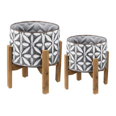 2-Piece Metal Plant Stand With Wood Stand