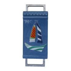 """""""Sailing Away II"""" Hancrafted Fused Glass Art Deco Sculpture With Stand"""