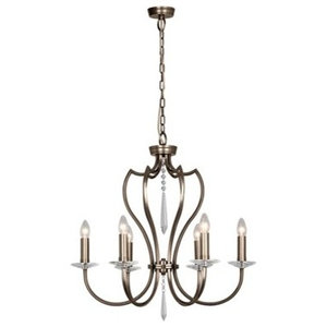 Traditional Dark Bronze and Cut Glass 6-Arm Chandelier