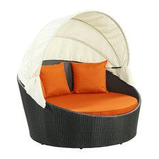 Siesta Canopy Outdoor Daybed, Espresso Orange