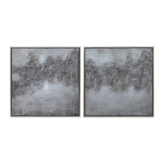 """Fog"" Abstract Diptych Textured Metallic Hand Painted Wall Art by Martin Edwards"
