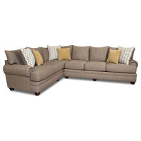 2-Piece Polyester Contemporary Sectional, Beige