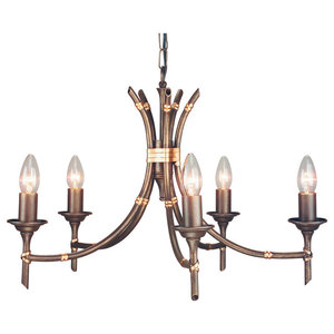Bamboo Modern Chandelier, 5 Lights