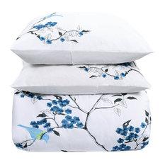 Cherry Garden Cotton Embroidered 3-Piece Duvet Cover Set
