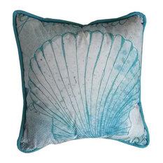 Handcrafted Nautical Decor Saizaun Seashell Throw Pillow Light Blue And White Decorative Pillows