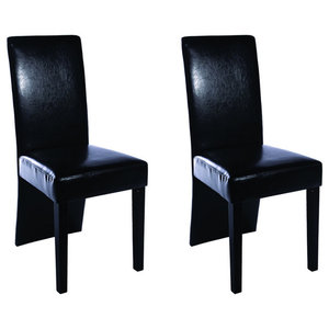 vidaXL Faux Leather Wood Dining Chairs, Black, Set of 2