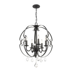 Cynthia Five Light Chandelier Black Multi-faceted Clear Crystal