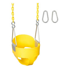 High-Back Full Bucket Swing Seat With Coated Chain, Yellow, 5.5'