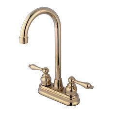 """Kingston Brass 4"""" Centerset High-Arc Bar Faucet, Polished Brass"""