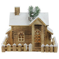 """12"""" LED Lighted Snowy Rustic Wooden Cabin Christmas Decoration"""