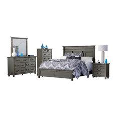 6-Piece Galata Cape Cod E King Bed, Dresser, Mirror, 2 Nightstand, Chest Gray