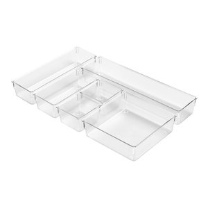 6 Pieces Drawer Organiser Set in Clear Plastic, Perfect to Provide Storage Space