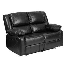 Leather Recline Loveseat Black