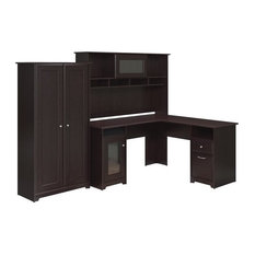 bush bush cabot 3 piece office set espresso oak desks and hutches bush desk hutch office