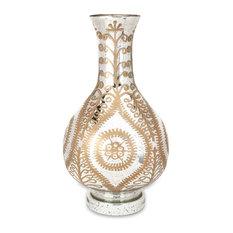 """Imax Carmina Oversized Etched White Gold Glass Vase 30"""" x 17"""" x 17"""""""
