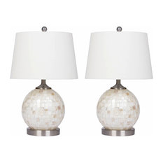 Abbyson Living Mother of Pearl Mini-Round Table Lamps, Cream, Set of 2