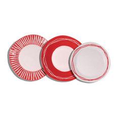 Viareggio 18-Piece Ceramic Dining Set, Red
