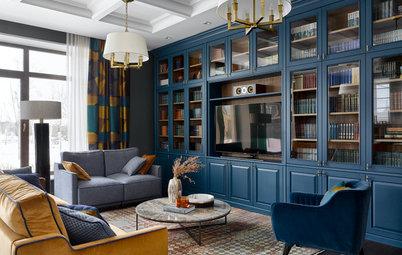 Houzz тур: Дом на Новой Риге с синей библиотекой