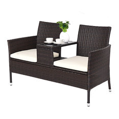 Costway Patio Rattan Chat Set Seat Sofa Loveseat Table Chairs Cushioned