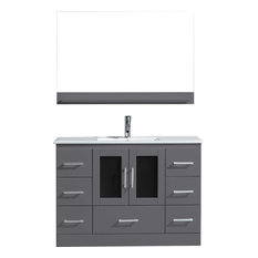 "Zola 48"" Vanity, Gray, Brushed Nickel, With Mirror"