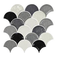 "12""x12"" Glazed Ceramic Fan Mosaic Tile, Gray Blend"